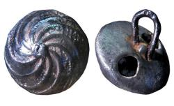Spanish metal button dating from about 1650 to 1675.