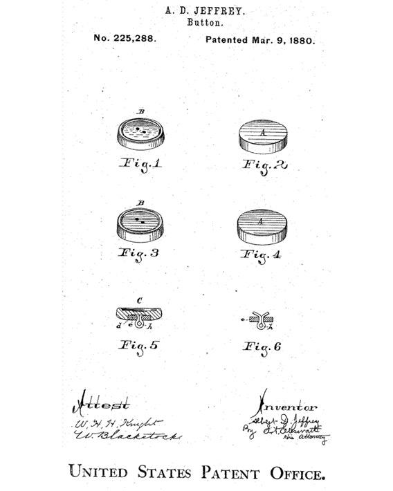 An 1880 patent for leather and paper buttons.
