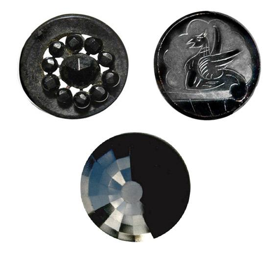 Black glass buttons.