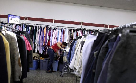 A woman shops at a Salvation Army thrift store on May 14, 2012 in Utica, New York.