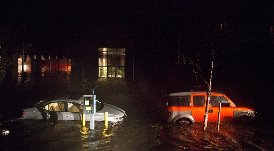 Flooded cars, caused by Hurricane Sandy, are seen on October 29, 2012.