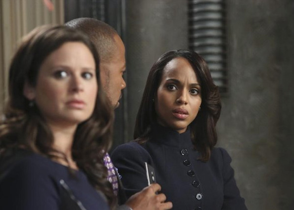 Kerry Washington, Columbus Short and Katie Lowes in Scandal.