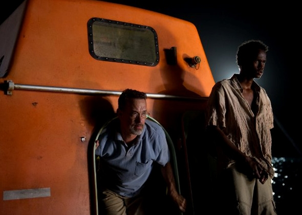 Tom Hanks and Barkhad Abdirahman in Captain Phillips.