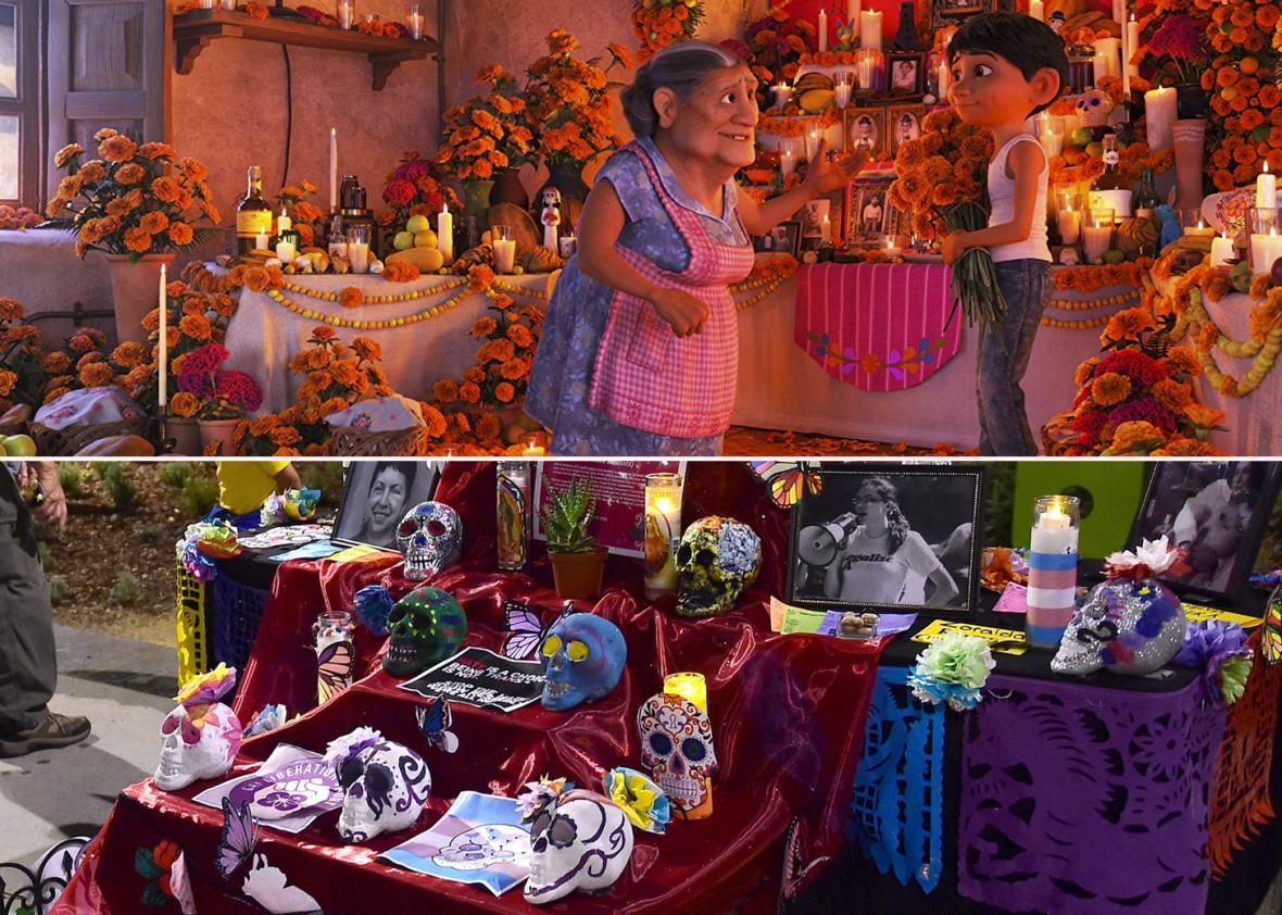 Traditional Mexican celebration of 'Noche de Ofrenda' (Night of the Altars)