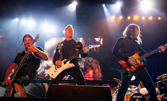 Robert Trujillo, James Hetfield and Kirk Hammett of Metallica perform at the Voodoo Music Experience on Oct. 27, 2012, in New Orleans.
