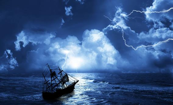 Boat in storm.