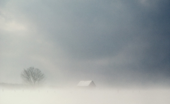 Barn in the snow.