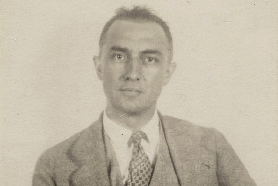 Photograph (believed to be passport photograph) of American poet and physician William Carlos Williams, 1920.