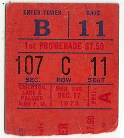 Rob McDonnell's ticket stub for the 1973 ELP show.