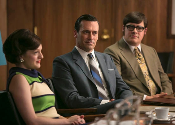 Elisabeth Moss as Peggy Olson, Jon Hamm as Don Draper and Rich Sommer as Harry Crane.