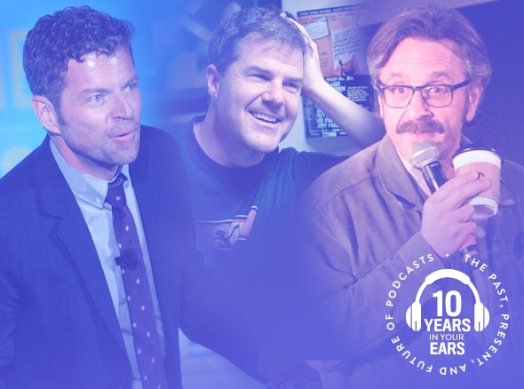 Dave Holmes, Paul Gilmartin, and Marc Maron