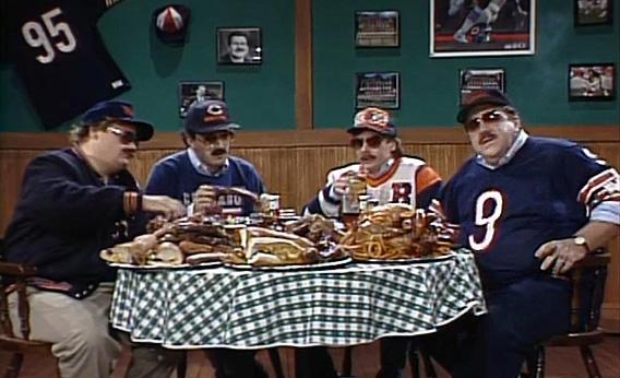 "Still from the classic SNL sketch ""Bill Swerski's Super Fans,"" who were speaking in Northern Cities accents."
