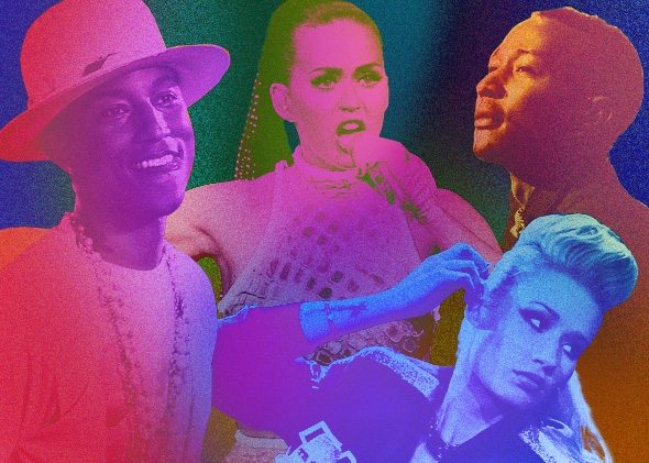 Pharrell, Katy Perry, Iggy Azalea, and John Legend had the four biggest songs of 2014, according to Billboard