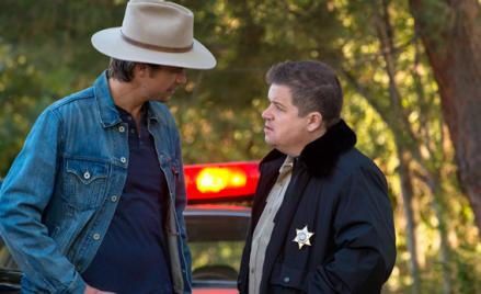 Timothy Olyphant as Raylan Givens and Patton Oswalt as Bob Sweeney.