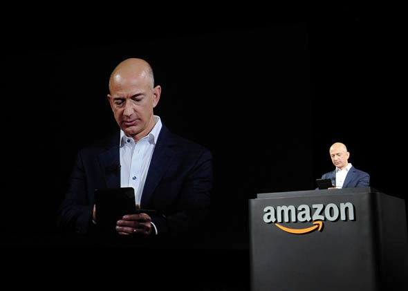 Jeff Bezos, CEO of AMAZON, introduces new Kindle Fire HD Family during the AMAZON press conference on September 06, 2012 in Santa Monica, California.