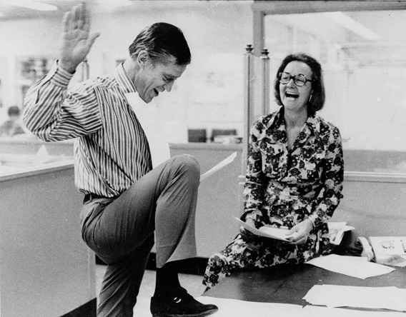 Katharine Graham, then publisher of the Washington Post, and Executive Editor Benjamin C. Bradlee look over reports of the 6 to 3 Supreme Court decision which permitted the paper to publish stories based on the secret Pentagon study of the Vietnam War.