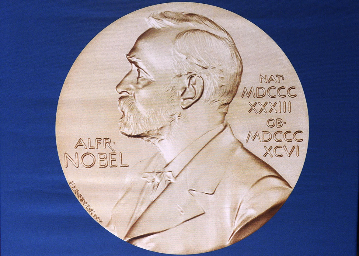 The laureate medal featuring the portrait of Alfred Nobel is seen before a press conference of the Nobel Committee to announce the winner of the 2015 Nobel Medicine Prize on October 5, 2015 at the Karolinska Institutet in Stockholm, Sweden.