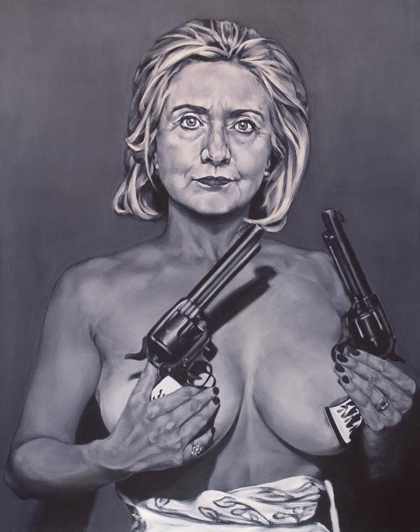 Photo Of Hillary Painted Black With Bill Clinton