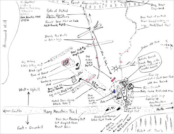 Hand drawn map by Kerry Gunther.