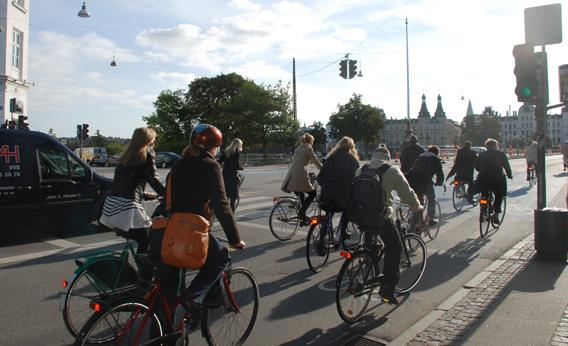 People ride bicycles on Oct. 2, 2010, in Copenhagen. The Danish capital is hoping 50 percent of commuters will get around by bike by 2015.