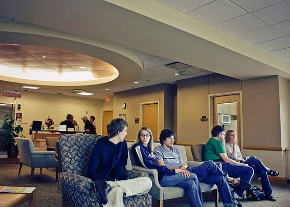 Family in ICU waiting lobby