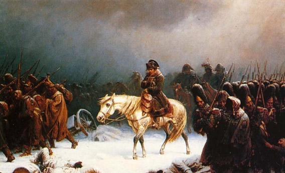 "Adolph Northen's (1828-1876) painting of ""Napoleon's Eetreat from Moscow""."