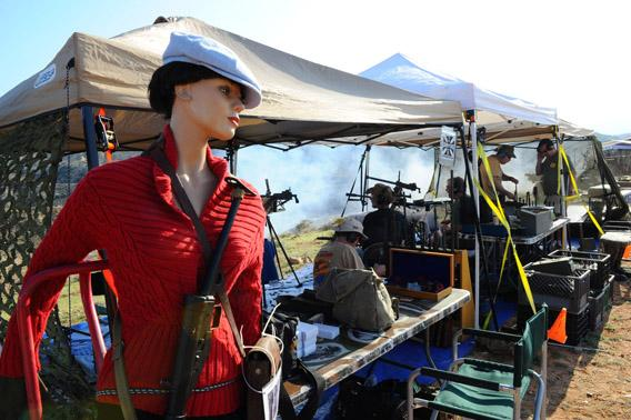 "At the Big Sandy Machine Gun Shoot in March, a mannequin named ""Mary Lou"" is dressed up as a World War II icon of the French Resistance and positioned at a shooting station."