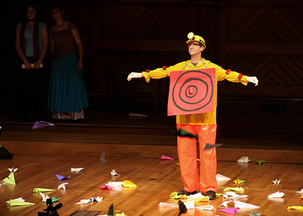 The paper plane target at the 2012 Ig Nobel awards prepares to be bombarded.