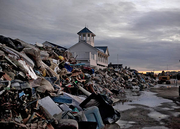 Debris from Superstorm Sandy is seen on a beach November 8, 2012 in Long Branch, New Jersey.