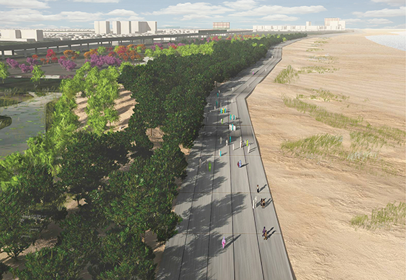 Rendering of the proposed Rockaway East Resiliency Preserve.