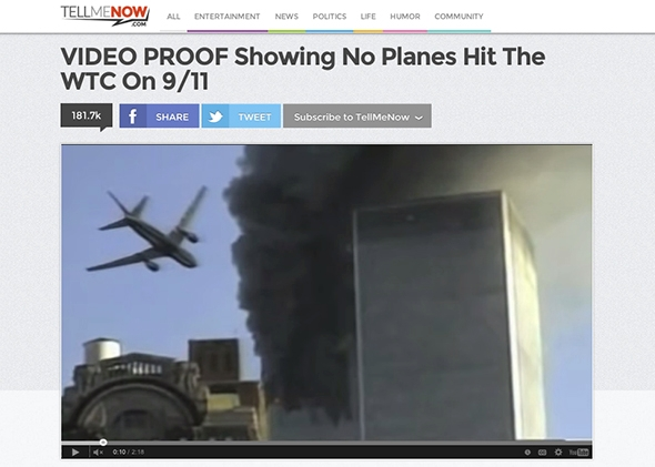 Screenshot of TellMeNow.com 9/11 video.