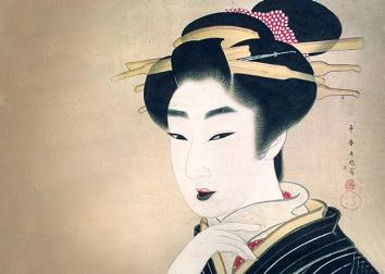 Beauty, a painting of a geisha, by Japanese artist Gion Seitoku,