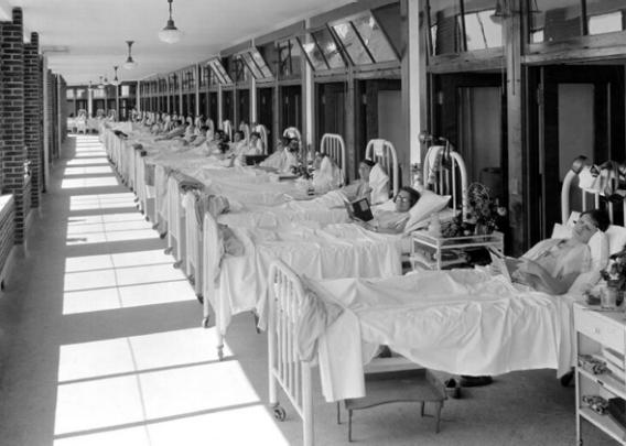 Fresh air was a part of the regimen to battle tuberculosis. Above, patients receive fresh air treatment on the sun porch at Waverly Tuberculosis Hospital in Louisville.