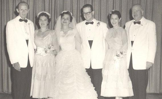 Beatrice Zelin, second from right, at the wedding of her son and daughter-in-law, Evan and Barbara Zelin, center, in 1959. Beatrice made Barbara's wedding dress.