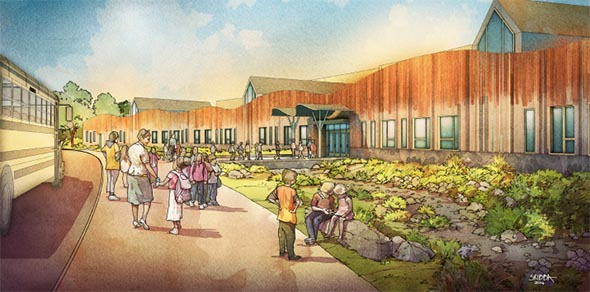 A rendering of the new Sandy Hood Elementary School.