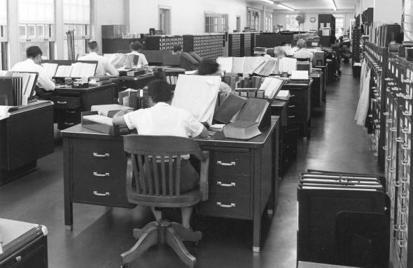 Merriam-Webster editorial department in the 1950s