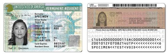 New green card design unveiled in May 2010.