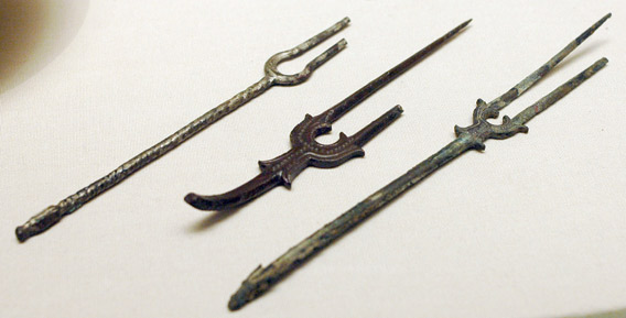 Eighth- to ninth-century molded bronze forks from present-day Iran.