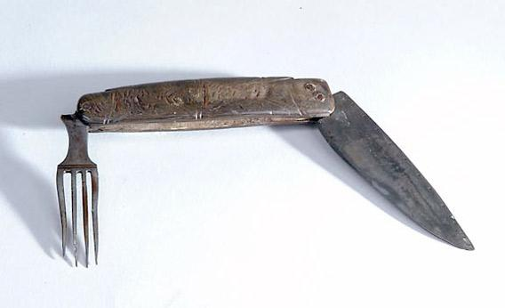 18th-century wood-and-steel knife and fork left by the Hessian Army at the Battle of Germantown, PA.