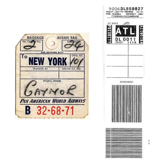At left, a Pan American World Airways baggage tag, and a modern baggage tag at right.
