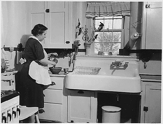 Kitchen layout typical of the pre-Kitchen Practical Design era, around 1920-1954.