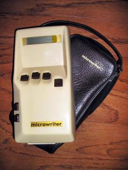 A Microwriter MW4 hand-held word-processor circa 1980.