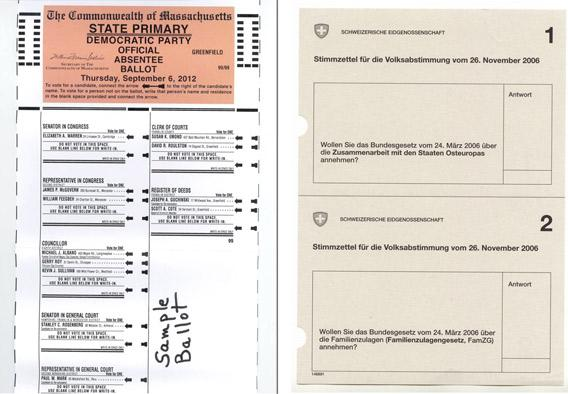 Massachussetts' state primary Democratic ballot, 2012; Swiss ballot for the popular referendum on November 2006.