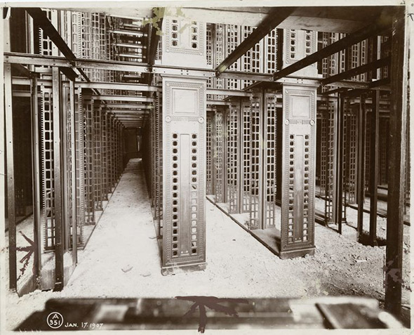 New York Public Library stacks under construction in 1907.