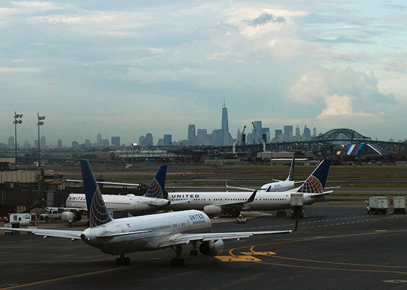 United Airlines' planes are seen at the Newark Liberty International Airport in New Jersey.
