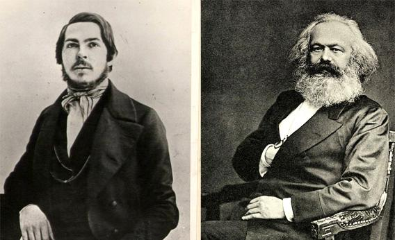 Friederich Engels and Karl Marx.