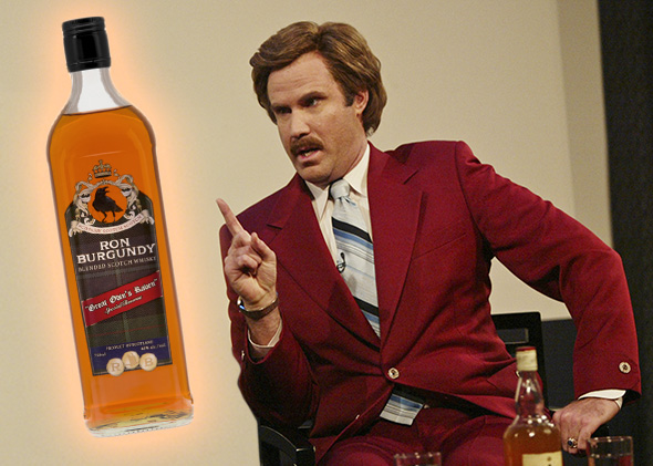 Actor Will Ferrell (R) aka Ron Burgundy, Burgundy Scotch.