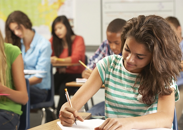 Young woman working on a standardized test