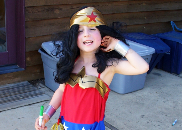 Girl Dressed as Boy Halloween The Author's Son as Wonder
