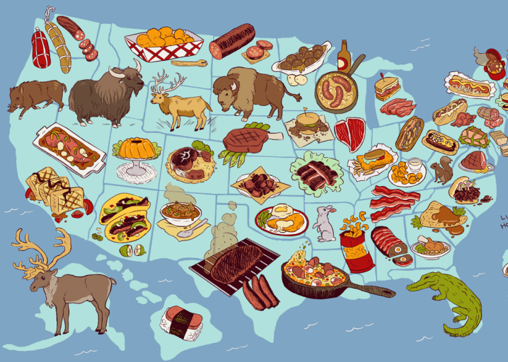 United steaks of america map if each state could have for American regional cuisine history